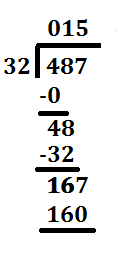 step 10 long division 487 divided by 32
