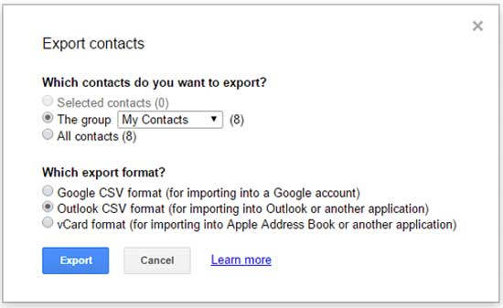 export android contacts to computer by gmail account